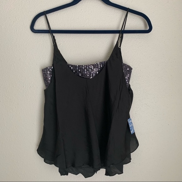 NEW free people black turn it on sequin cami M